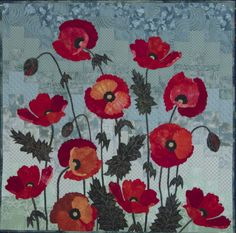 Hand Dyed Poppies, adapted from the book Flower Show Quilts  (Lynn Ann Majidimehr)  by Jean Dyer. My own hand-dyed fabrics.