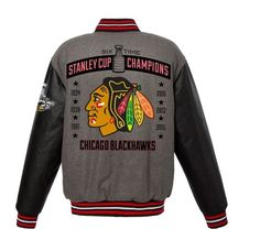 Chicago Blackhawks 6-Time Stanley Cup Champions Wool Reversible Jacket