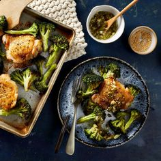 Sheet-Pan Sesame Chicken & Broccoli with Scallion-Ginger Sauce Recipe - EatingWell Sesame Chicken, Honey Garlic Chicken, Chicken Broccoli, Chicken And Vegetables, Veggies, Salisbury, Tofu, Ginger Sauce, Asian