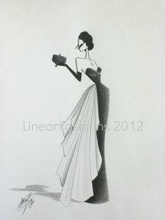 Fashion Illustration 1950s by LinearFashions, $40.00.