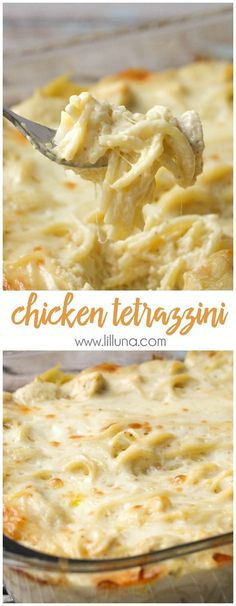 Easy and delicious Cheesy Chicken Tetrazzini - a family favorite dinner meal! { lilluna.com } halve recipe too!