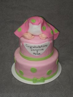 Baby butt cake for baby shower.  Baby bottom is made with RKT's and feed are made of fondant.