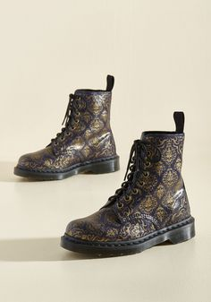 March Through Manhattan Leather Boot in Antique Damask by Dr. Martens - Purple, Gold, Other Print, Casual, Statement, French / Victorian, Fall, Best, Lace Up, Ankle, Purple, Saturated, Low, Leather, Best Seller, Best Seller