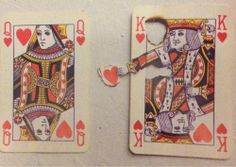cards, deck, king, queen, hearts, art