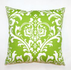 SNOW SALE- Premier Prints Ozborne Chartreuse Green Damask Pillow Cover- 18x18 inches- Hidden Zipper Closure. $17.95, via Etsy.