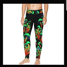 Shroom leggings for the guys ✌️👍 Festival Outfits, Festival Clothing, Rave Clothing, Rave Mask, Edm Outfits, Yoga Moves, Women's Leggings, Slip On Shoes, Looks Great