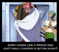 Zoro looks like a proud dad, ooh!!, finally Chopper is getting scary!!, funny, Chopper, Zoro, clapping, Usopp; One Piece