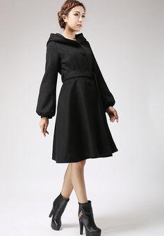 Women Dark grey cape Coat winter coat Autumn-Winter Woman Wool ...