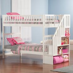 Woodland Twin over Twin Staircase Bunk Bed | from hayneedle.com