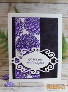 Here are the items I used to make this one! *Gina K. Designs Stamp Set: Birthday Blessings By: Gina *Pure Luxury Card Stock: White Heavy Base Weight, & Layering weight, Edible Eggplant, & Wild Lilac *Premium Dye Ink: Edible Eggplant (Greeting) I also used : Vera Mark Ink, Spectrum Noir Markers HB2 & LV2, Spectrum Noir Pencil # 82 Label Die, pearls, and 3D foam squares to pop it up Available @ http://www.shop.ginakdesigns.com/main.sc Made For: Gina K. Designs By: Karen Hightower