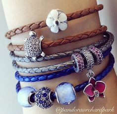 PANDORA Leather Bracelet Stack.