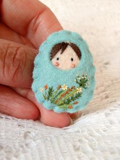 Felt doll Russian small wild flowers brooch