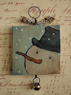 cute snowman painting - i like the colors chosen, would look nice on wood, slightly distressed, i think i'd tend to use a sprig of greenery at the top. maybe nothing on the bottom, unless its hung on a door then i might use rusty jungle bell. cute design. :)