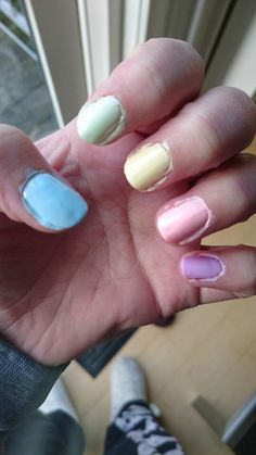 Cute pastel skittle nails *BEFORE CLEANUP*