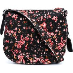 Coach 1941 floral print saddle shoulder bag ($1,230) ❤ liked on Polyvore featuring bags, handbags, shoulder bags, black, genuine leather purse, real leather handbags, floral shoulder bag, real leather purses and floral purse