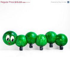 SALE Vintage coat rack  Green caterpillar kids room by OsikOsik, $11.25