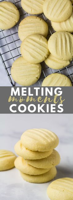 Melting Moments (Butter Cookies) - Deliciously soft, buttery, melt-in-your-mouth cookies that are infused with vanilla, super easy to make, and only requires 6 simple ingredients! Delicious Cookie Recipes, Easy Cookie Recipes, Baking Recipes, Sweet Recipes, Dessert Recipes, Pie Recipes, Vanilla Cookies, Peanut Butter Cookies, Yummy Cookies