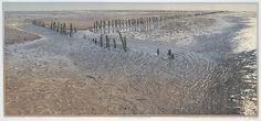 Uithuizerwad - Siemen Dijkstra - kleurenhoutsnede ook mooi: avond over noordzee