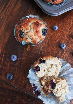 Wholemeal yoghurt blueberry and passionfruit muffins