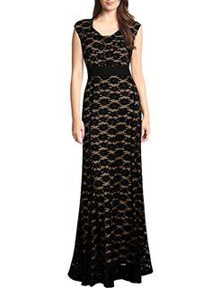 Miusol Womens Elegant Floral Lace Cap Sleeve Slim Long Bridesmaid Maxi Dress Black XLarge ** Click image for more details.