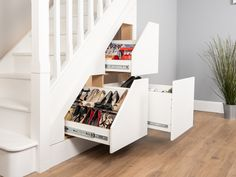 Under Stair Storage. Maximise The Space Under Your Stairs With Our Under Stairs Storage Units. Talk To Our Team Today For Under The Stairs Storage Ideas Shoe Storage Under Stairs, Under Stairs Storage Solutions, Coat And Shoe Storage, Closet Under Stairs, Space Under Stairs, Staircase Storage, Hallway Storage, Storage Spaces, Storage Units