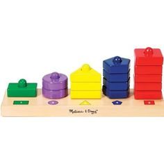 $9.99 - Stack and sort to your heart?s content!• The Stack & Sort Board features 15 thick, colorful wooden pieces for a child to match by color and quantity to the key on the sturdy solid-wood board.• Super simple.• Super Quality. • And great for the development of a child. • DIMENSIONS: 13 X 4.75 X 2.25 Like Stacking Toys? See ?em all here!
