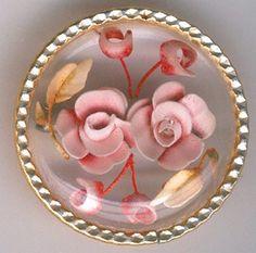 Vintage Reverse Carved Lucite Pink Rose Brooch