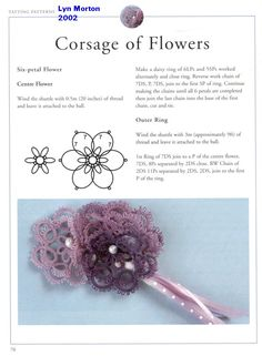 Corsage of Flowers - 3-D Flower Favor by Lyn Morton - a 2-page pattern. This is page 1 with center 6-petal flower ... *i*