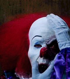 "1990 ""It"" (Tim Curry as 'Pennywise'). An inhaler's worth of ""battery acid. Scary Movies, Horror Movies, Stephen King Books, Stephen Kings, Martial, Pennywise The Dancing Clown, Horror Icons, Creepy Clown, Send In The Clowns"