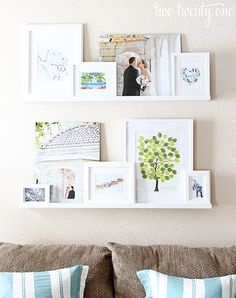 Photo ledge - A giant collage of favourite memories linked together by a colour scheme.