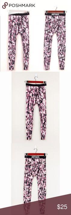 """Nike Pink Black Splatter """"Just Do It"""" Leggings Nike Women's Pink Black Splatter """"Just Do It"""" Athletic Leggings Cotton Blend XS  Waist: 12 Length: 35.5 Inseam: 30 Nike Pants Leggings"""