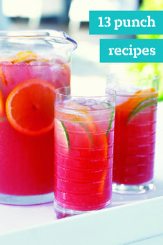 13 Punch Recipes – Our cool and refreshing punch recipes are perfect for parties because they're ready in minutes. Fruity or fizzy, sweet or tangy, your guests will savor every sip. Refreshing Drinks, Summer Drinks, Fun Drinks, Party Drinks, Mixed Drinks, Cold Drinks, Non Alcoholic Drinks, Cocktail Drinks, Cocktails