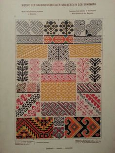 Stickerei aus Bukowina Cross Stitch Borders, Cross Stitch Charts, Cross Stitch Patterns, Folk Embroidery, Cross Stitch Embroidery, Embroidery Patterns, Palestinian Embroidery, Looks Vintage, Pattern Books