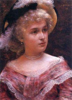 Bert Christensen's Cyberspace Home, Aleksander Gierymski, Lady Rococo Female Portrait, Portrait Art, Portraits, Pink Painting, Academic Art, Renaissance Art, National Museum, Rococo, Printmaking