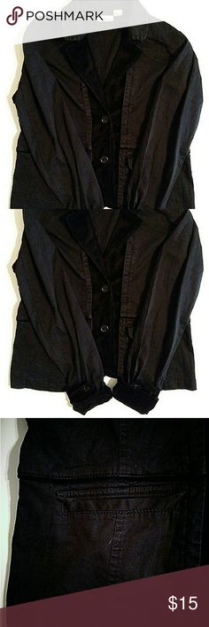 DKNY JEANS women's blazer Black blazer with velvet lapel and cuffs above pockets there is a thin strip of velvet detail around the entire blazer. Good condition. DKNY Jackets & Coats Blazers