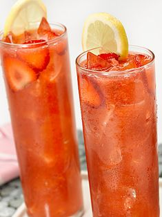 Strawberry Iced Tea: 2 cups whole frozen or fresh strawberries 32 fluid ounces, brewed tea, cooled ⅓ cup white sugar (amount can vary depending on desired sweetness) ¼ cup freshly squeezed lemon juice mint leaves ice  Blend strawberries in a food processor until smooth, then strain. Mix together pureed strawberries, tea, desired amount of sugar, and lemon juice. Chill. Once cooled serve over ice and garnish with fresh strawberry. Yields: 5 servings  Recipe provided by Blog Chefs