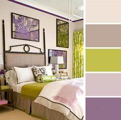 Зеленый и фиолетовый цвета в интерьере