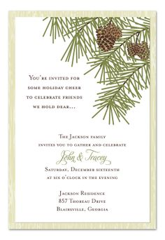 Blue outline-- Holiday Pines - Wedding Invitations by Invitation Consultants. (Item # IC-RLP-W76 )
