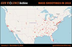 Shooting Incidents in 2018 (January 1 - December 8, 2018)  Source: gunviolencearchive.org