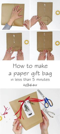 Learn how to make a DIY gift bag in less than 5 minutes. A easy tutorial to wrap… – Outdoor Christmas Lights House Decorations Paper Gift Bags, Paper Gifts, Homemade Gift Bags, Diy Bag Gift, Free Christmas Gifts, Christmas Diy, Creative Gift Wrapping, Diy Paper Box, Diy Gift Bags From Wrapping Paper