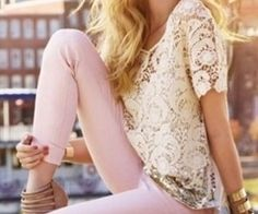 Lace top and pastel jeans by Express