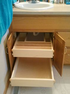 under sink roll outs maximize your cabinet space.  www.helpyourshelves.com Under Sink Organization Bathroom, Bathroom Sink Cabinets, Bathroom Drawers, Small Bathroom Storage, Bathroom Shelves, Under Bathroom Sinks, Shiplap Bathroom, Bathroom Laundry, Vanity Bathroom