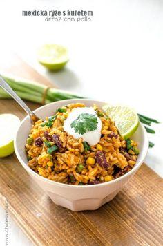 mexická ryza s kurčaťom Mexican Food Recipes, Healthy Recipes, Ethnic Recipes, Home Food, Kitchen Recipes, Chana Masala, Curry, Food And Drink, Veggies