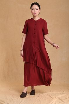 Spring dress Loose fitting Long Sleeve Sundress Maxi Dresss in Rose Red(more colour and size choice)-NS27