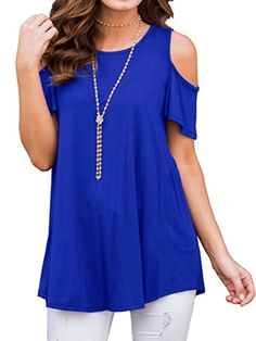 Women's Casual Cold Shoulder Tunic Tops Short&Long Sleeve Loose Blouse Shirts T Shirt Casual Tops, Casual T Shirts, Chemise Fashion, Loose Tops, Loose Fit, Raglan, Vintage Design, Types Of Sleeves, Short Sleeves