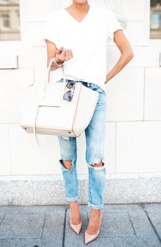 White satchel, blush pink pumps, distressed jeans, white tee. Casual chic. Summer-Spring look