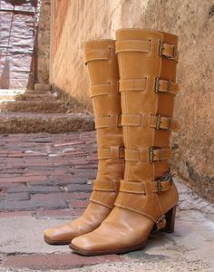 Leather and Antiqued Brass Hardware Shin Guards or Gaiters - needed in black