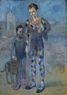 """Two Acrobats with a Dog"" in 1905 by Pablo Picasso. Gouache on board."
