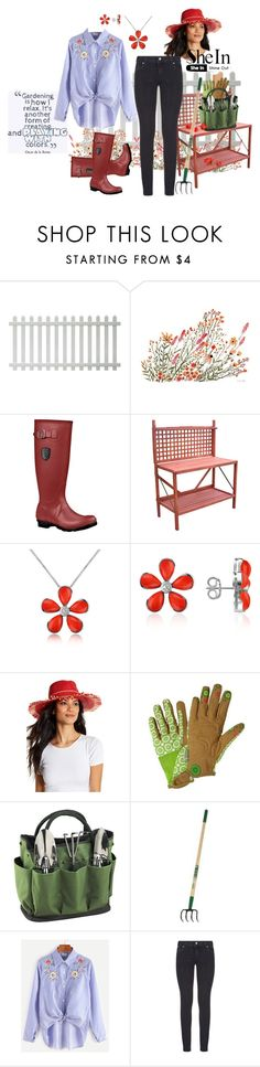 """""""http://www.shein.com/Blue-Striped-Flower-Embroidered-Knotted-High-Low-Shirt"""" by susan-993 ❤ liked on Polyvore featuring Kamik, Merry Products, Del Gatto, Eric Javits, Picnic at Ascot and Paige Denim"""