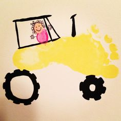Footprint tractor craft for kids to make Craft Activities For Kids, Preschool Crafts, Tractor Crafts, Thumbprint Crafts, Farm Kids, Footprint Crafts, Handprint Art, Kids Artwork, Baby Art